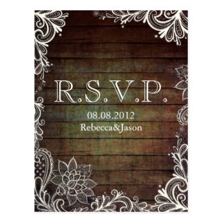 modern rustic barnwood lace country wedding RSVP Postcards