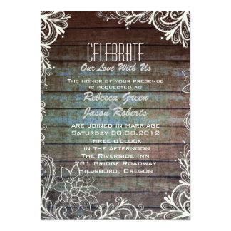 modern rustic barnwood lace wedding card