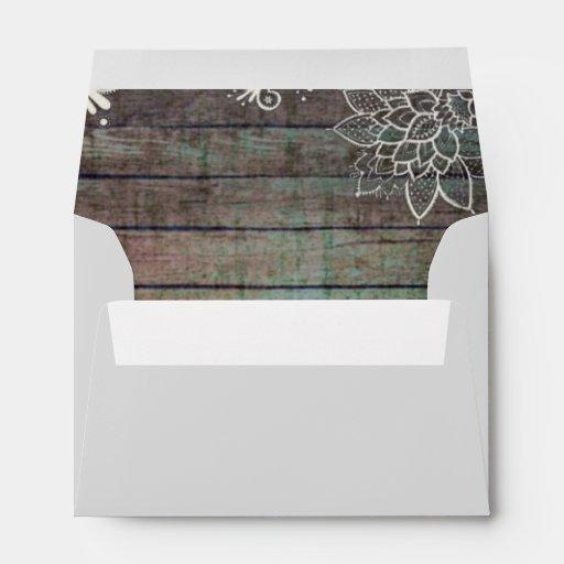 modern rustic barnwood lace wedding envelope