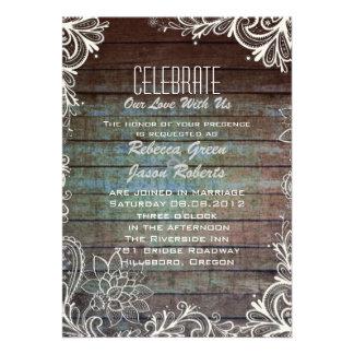 modern rustic barnwood lace wedding cards