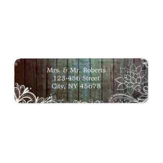 modern rustic barnwood lace wedding label