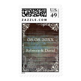 modern rustic barnwood lace wedding postage stamps