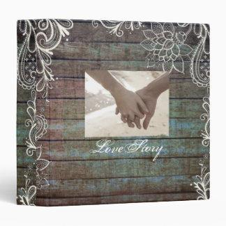 modern rustic barnwood lace wedding vinyl binders
