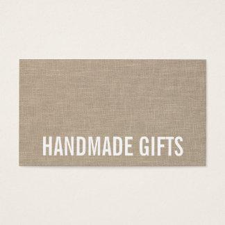 Modern rustic beige linen gray burlap handmade business card