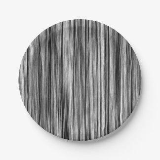 Modern rustic black gray wood grain pattern paper plate