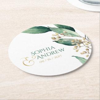 Modern rustic botanical greenery wedding monogram round paper coaster