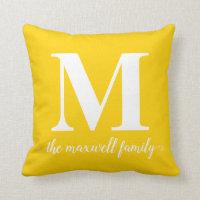 Modern Rustic Bright Yellow Monogram Family Script Throw Pillow