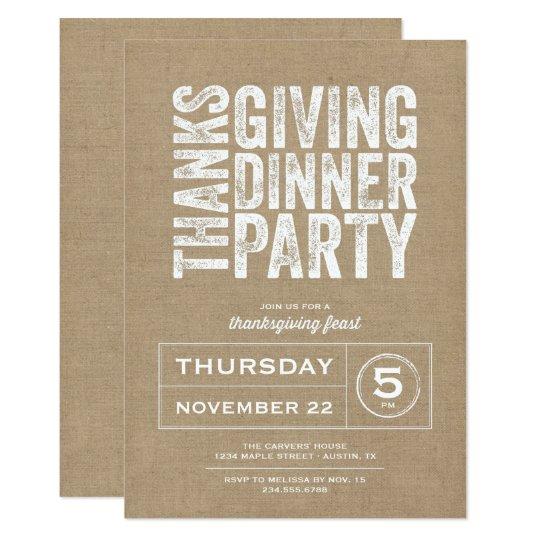 Modern Rustic Burlap Thanksgiving Dinner Party Invitation