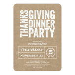 Modern Rustic Burlap Thanksgiving Dinner Party Personalized Invites