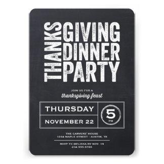 Modern Rustic Chalkboard Thanksgiving Dinner Party Custom Announcement