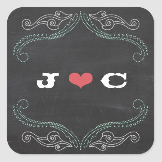 Modern Rustic Chalkboard Typography Wedding Square Sticker
