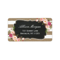 Modern Rustic Chic Burlap Stripes Floral Label