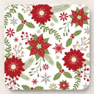 modern rustic Christmas flowers Coaster