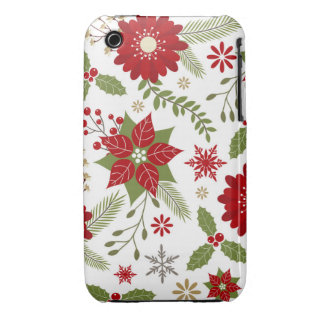 modern rustic Christmas flowers iPhone 3 Cover
