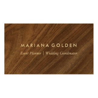 Modern Rustic Country Wood Business Card on Gold