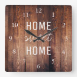 Modern rustic dark barn wood Home sweet home Square Wall Clock