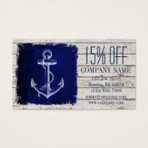 modern rustic drift wood blue anchor nautical business card