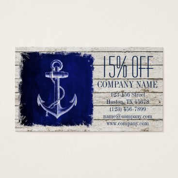 businesscardsdepot modern rustic drift wood blue anchor nautical business card