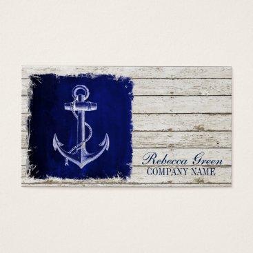 businesscardsdepot modern rustic drift wood blue anchor nautical business card