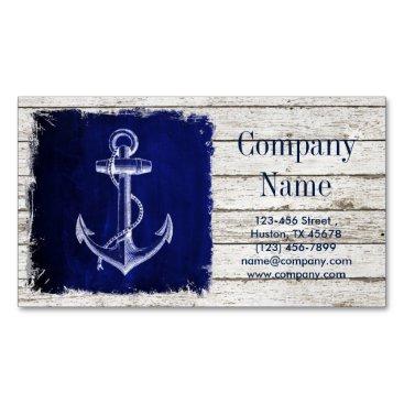 businesscardsdepot modern rustic drift wood blue anchor nautical business card magnet