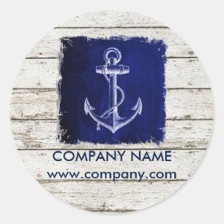 modern rustic drift wood blue anchor nautical classic round sticker