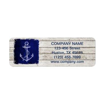 businesscardsdepot modern rustic drift wood blue anchor nautical label