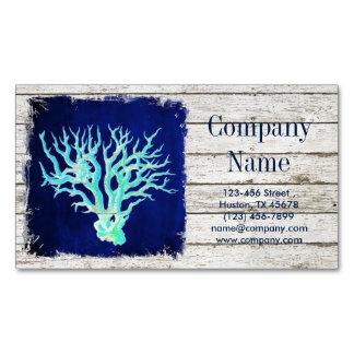 modern rustic drift wood blue coral nautical business card magnet
