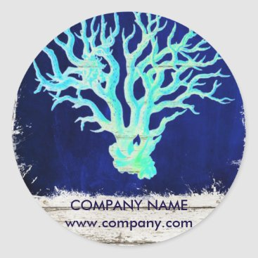 businesscardsdepot modern rustic drift wood blue coral nautical classic round sticker