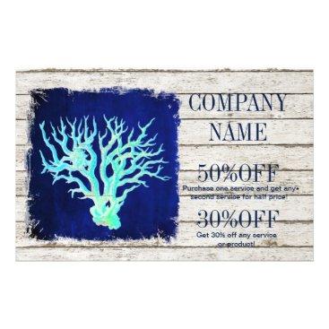 businesscardsdepot modern rustic drift wood blue coral nautical flyer