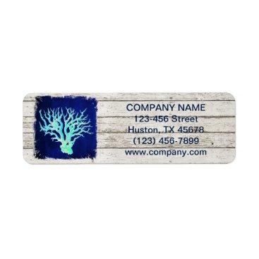 businesscardsdepot modern rustic drift wood blue coral nautical label