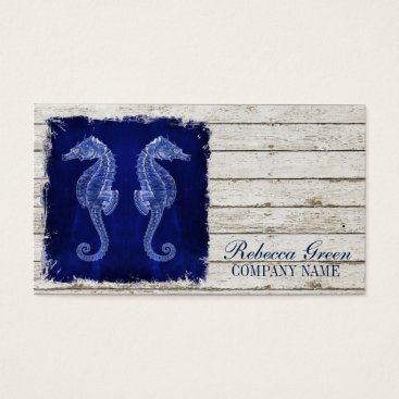 businesscardsdepot modern rustic drift wood blue seahorse nautical business card