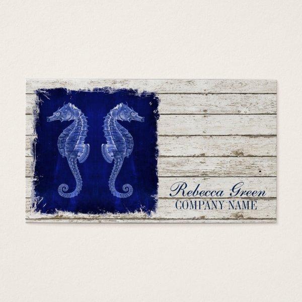modern rustic drift wood blue seahorse nautical business card