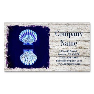 businesscardsdepot modern rustic drift wood blue seashell nautical business card magnet