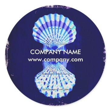 businesscardsdepot modern rustic drift wood blue seashells nautical classic round sticker