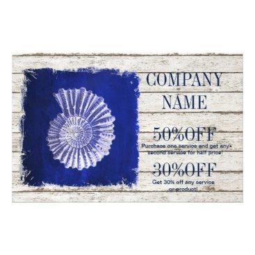 businesscardsdepot modern rustic drift wood blue seashells nautical flyer