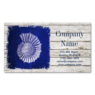 businesscardsdepot modern rustic drift wood blue seashells nautical magnetic business card