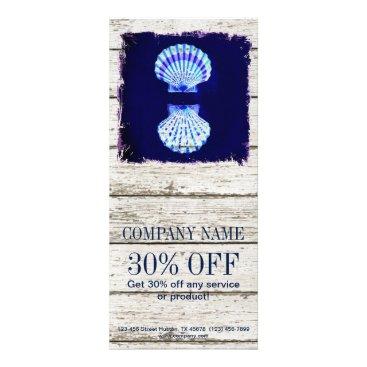 businesscardsdepot modern rustic drift wood blue seashells nautical rack card