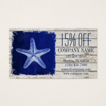 businesscardsdepot modern rustic drift wood blue starfish nautical business card