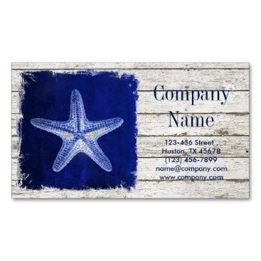 businesscardsdepot modern rustic drift wood blue starfish nautical business card magnet