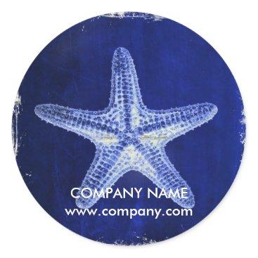 businesscardsdepot modern rustic drift wood blue starfish nautical classic round sticker