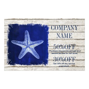 businesscardsdepot modern rustic drift wood blue starfish nautical flyer