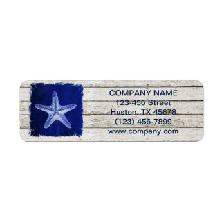 modern rustic drift wood blue starfish nautical label