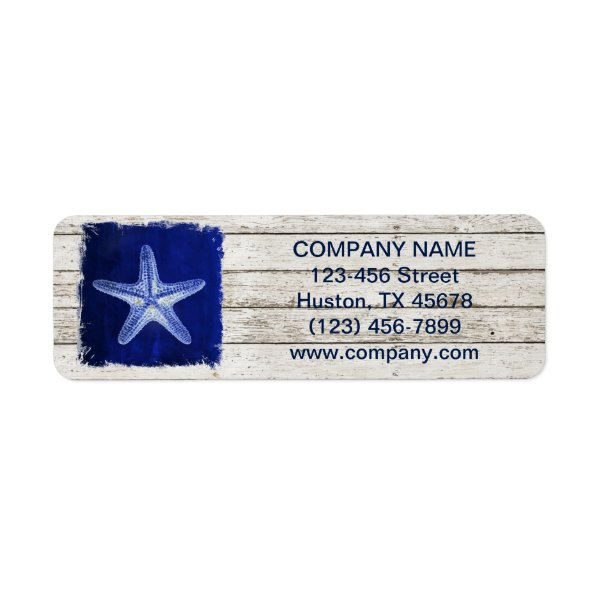 modern rustic drift wood blue starfish nautical label