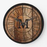 Modern Rustic Farmhouse Family Monogram Barnwood Large Clock