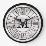 Modern Rustic Farmhouse Family Monogram Chippy Large Clock