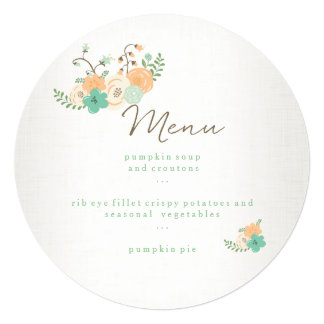 Modern Rustic Floral Thanksgiving Dinner Menu Card