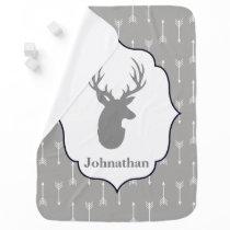 Modern Rustic Gray Deer & White Arrows Baby's Name Baby Blanket