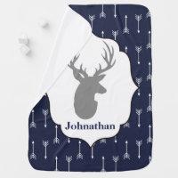 Modern Rustic Gray Deer & White Arrows Baby's Name Receiving Blanket