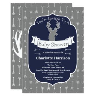Modern Rustic Gray & Navy Deer & Arrow Baby Shower Card