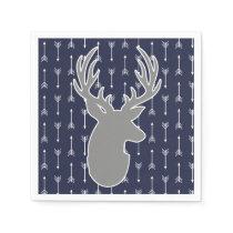 Modern Rustic Gray & Navy Deer & White Arrows Napkin